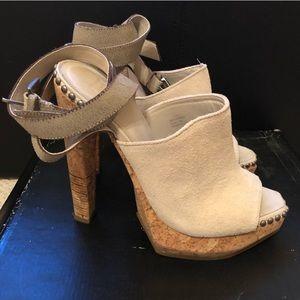 FRIDA Herve Leger Cream Suede Heels